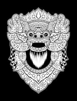 빈티지 바롱 발리 전통 문화. 프리미엄 벡터