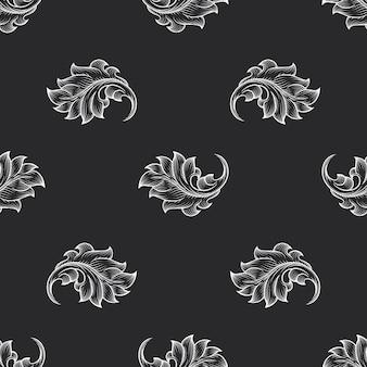 Motivo floreale incisione barocca vintage. arredamento retrò, tessuto sullo sfondo, illustrazione vettoriale