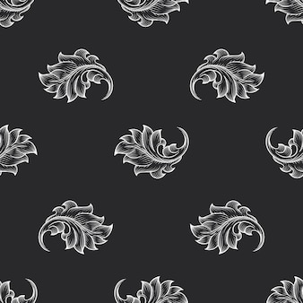 Vintage baroque engraving floral pattern. retro decor, backdrop fabric, vector illustration