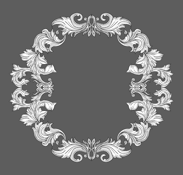 Vintage baroque frame border with leaf scroll floral ornament in line style. frame floral, decorative vintage frame,  baroque frame. vector illustration