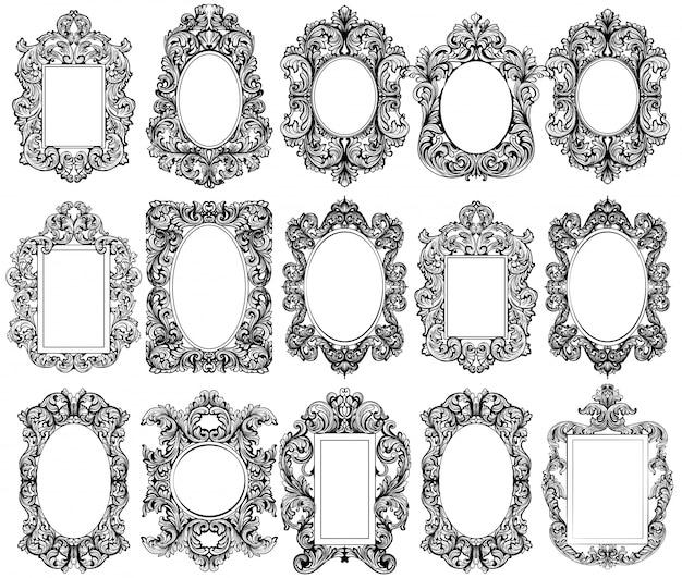 Коллекция старинных барокко декорации. векторные иллюстрации