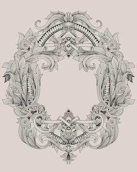 Винтажная рамка в стиле барокко с растительным орнаментом