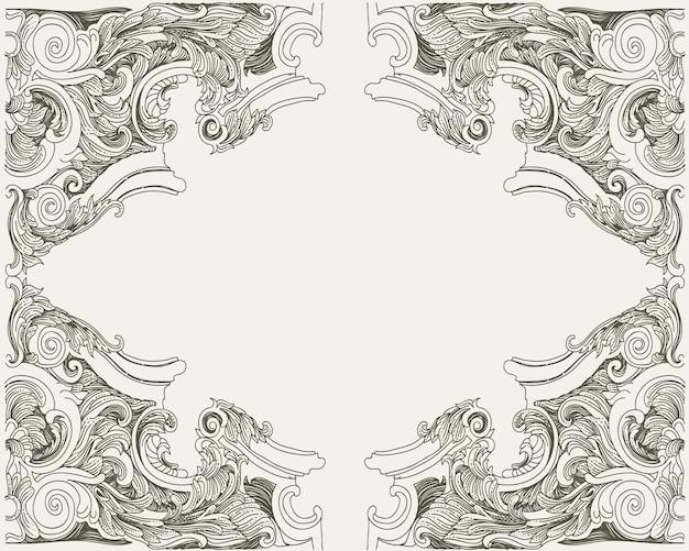 Винтажная рамка в стиле барокко с цветочным орнаментом