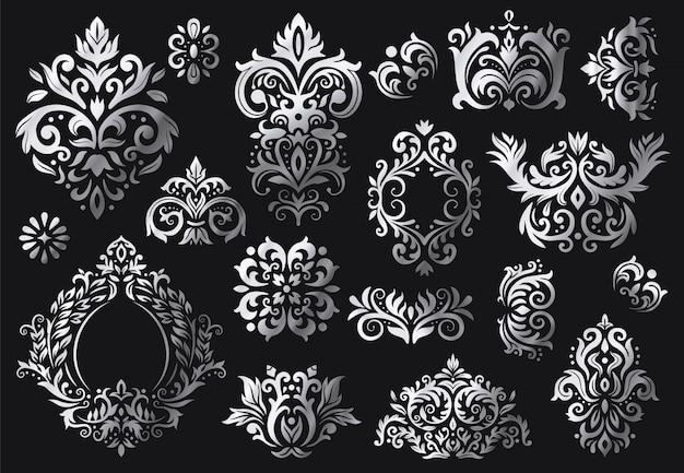 Старинный орнамент барокко. набор декоративных цветочных веточек, роскошных дамасских орнаментов и викторианских саржевых дамасских узоров