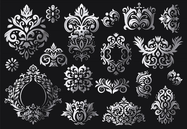 Vintage baroque ornament. ornate floral sprigs pattern, luxury damask ornaments and victorian twill damasks patterns set