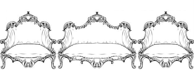 빈티지 바로크 로코코 가구 벡터입니다. 풍부한 제국 장미 장식품. 왕실 빅토리아 장식