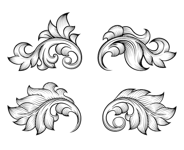 Vintage baroque scroll leaf set in engraving style element, ornate decoration, filigree floral.