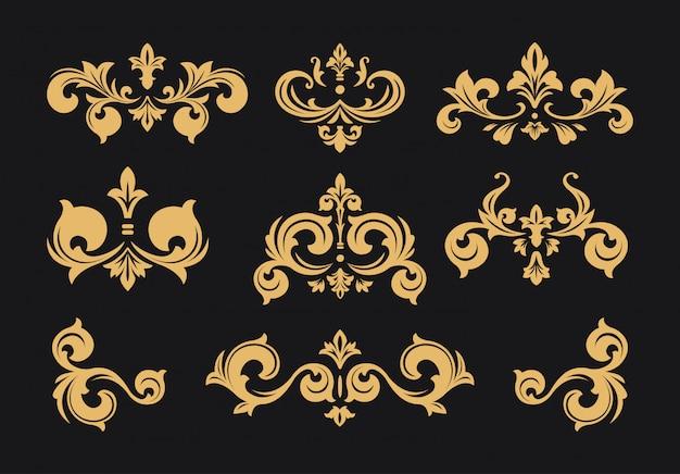 Vintage baroque victorian frame border set