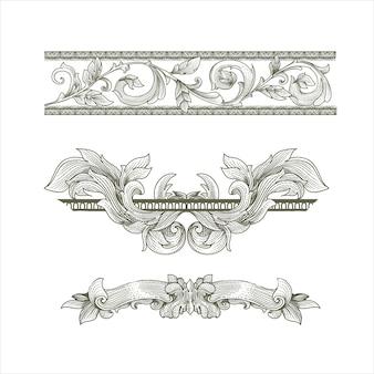 Vintage baroque victorian frame set