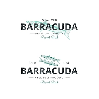 Vintage barracuda fish logo template for restaurant