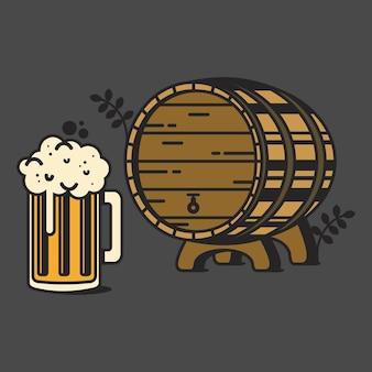 Vintage barrel of beer vector illustration beer mug with foam wooden barrel with tap icon