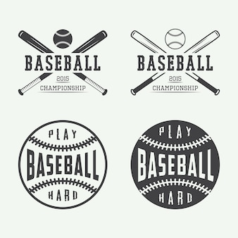 Vintage baseball emblems, badges