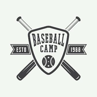 ヴィンテージ野球のロゴ、エンブレム、バッジ、デザイン要素。ベクトルイラスト