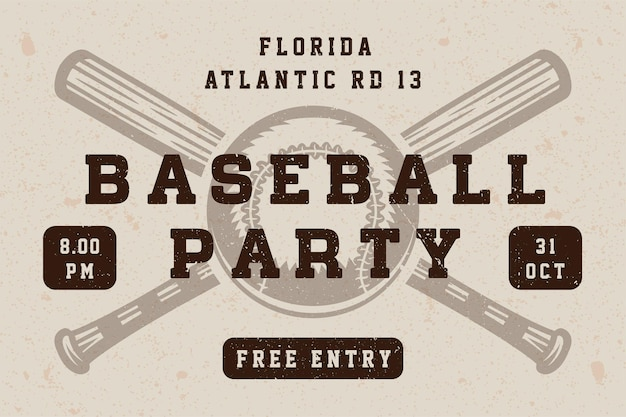 Vintage baseball party poster, template, banner in retro style. graphic art. vector illustration.
