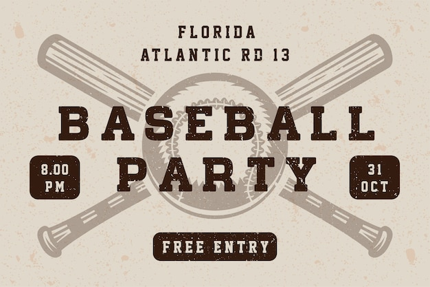 Vintage baseball party poster