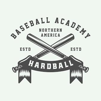 Vintage baseball sport logo, emblem, badge, mark, label. monochrome graphic art illustration vector