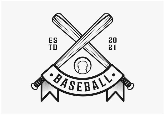 Vintage baseball with ribbon premium vector