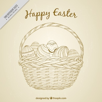 Vintage basket background with hand drawn easter eggs