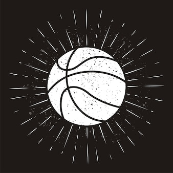 Vintage basket ball with sunburst on grunge background