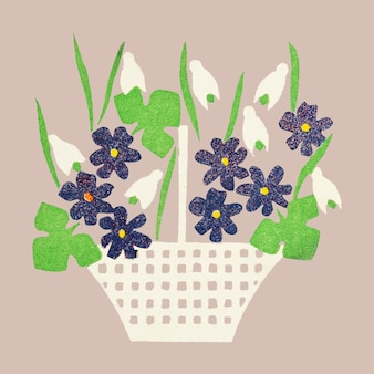 Cesto di fiori vintage vettoriale