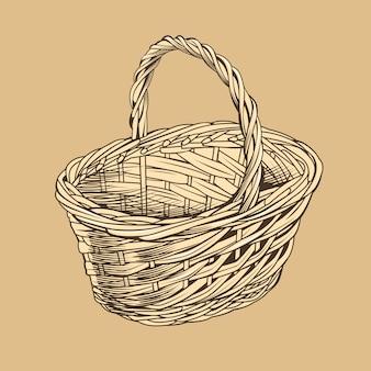 Vintage basket in woodcut style