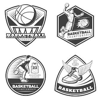Vintage basketball emblems set
