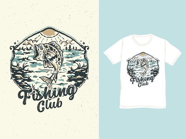 Vintage bass fishing in the lake badge illustration