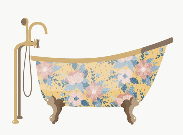 Vintage bath with a beautiful flowers.