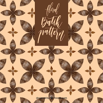 Vintage batik pattern with flowers