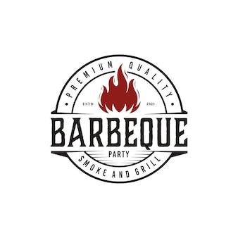 Vintage bbq grill barbecue label stamp logo design