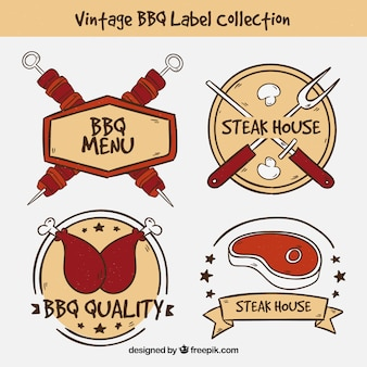Vintage bbq label collection