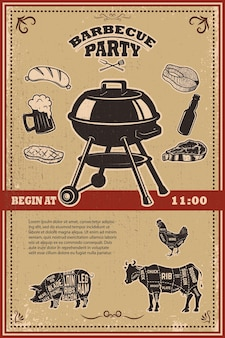 Винтажный шаблон плаката вечеринки барбекю. гриль, стейк, мясо, пивная бутылка и кружка.