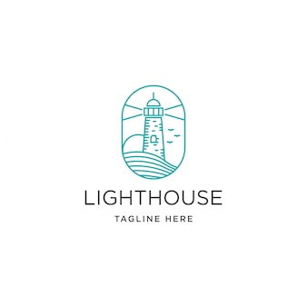 Vintage beacon lighthouse on coastal beach logo template