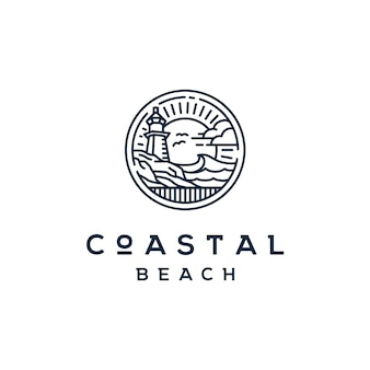 Vintage beacon lighthouse on coastal beach logo