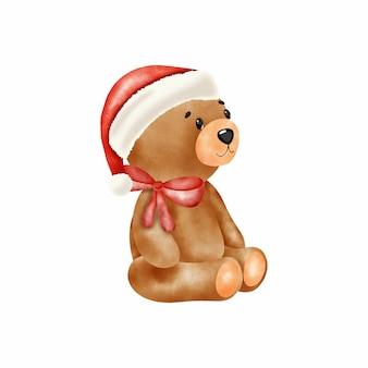 サンタクロースの帽子とヴィンテージのクマのおもちゃ