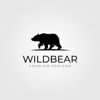 Vintage bear walk logo  symbol illustration