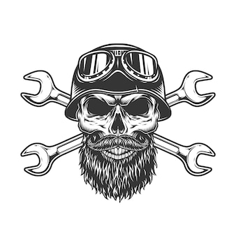 Vintage bearded and mustached biker skull