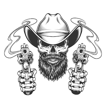Vintage bearded and mustached cowboy skull