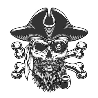 Vintage bearded and mustached pirate skull