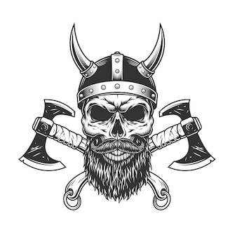 Vintage bearded and mustached viking skull
