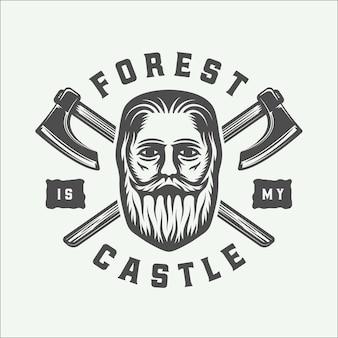 Винтажный бородач с топорами и цитируют лесоруба в стиле ретро. монохромная графика. иллюстрация