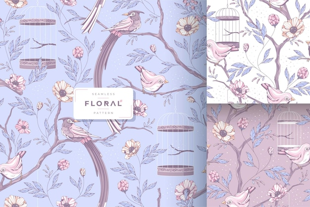 ヴィンテージの美しい鳥のパターンコレクション