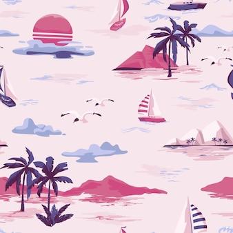 白い背景の上のヴィンテージ美しいシームレスな島のパターン。ヤシの木、ヨット、ビーチ、海のベクトル手描きスタイルの風景