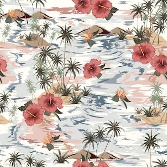 Vintage beautiful seamless island pattern