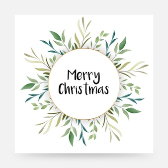 Vintage beautifully designed merry christmas floral artwork