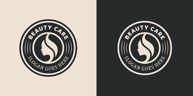 Vintage beauty care with female face, hair style , hand care badge emblem beauty logo for salon