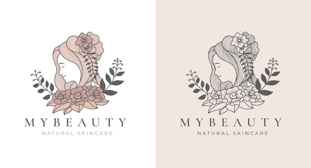빈티지 아름다움 꽃 여성 로고 디자인