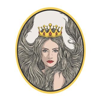 Vintage beauty queen with crown premium logo premium vector