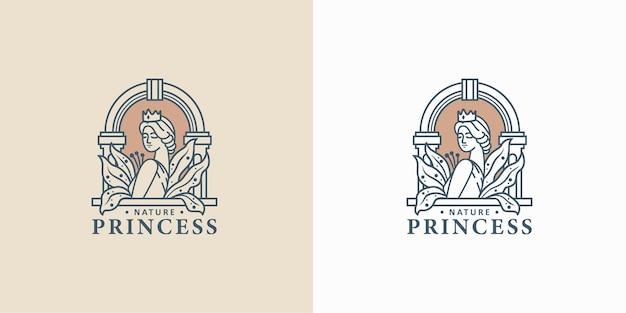 빈티지 뷰티 우먼 라인 아트 로고 디자인
