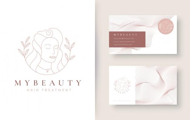 ヴィンテージ美容女性ラインアートロゴデザイン